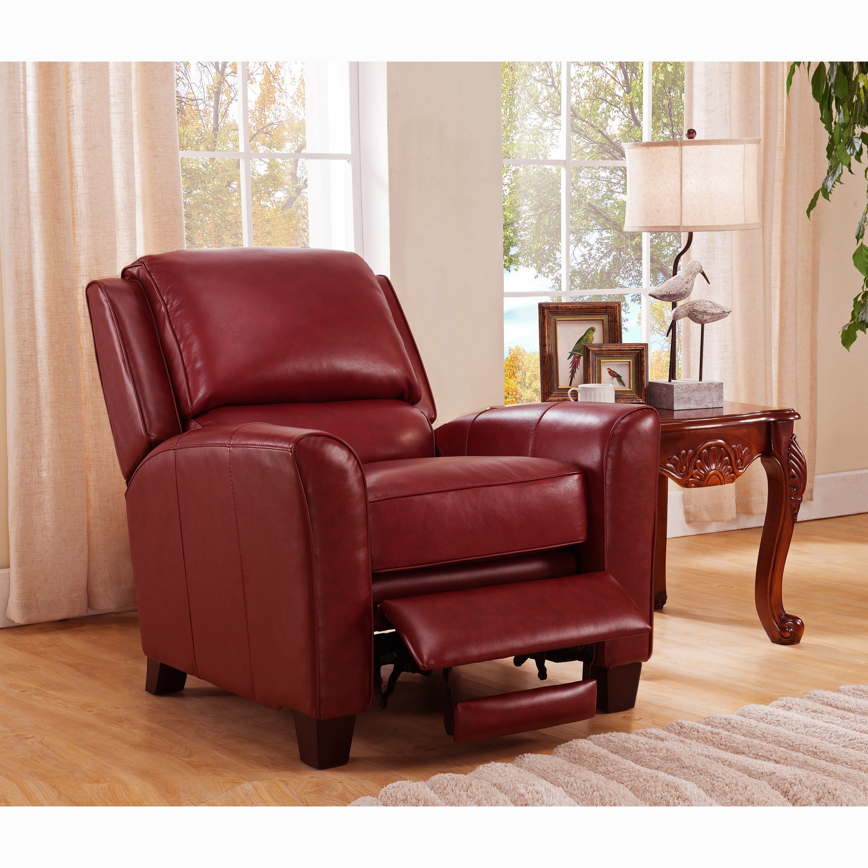 red recliner chairs posture chair ball shop carnegie crimson premium top grain leather on sale free shipping today overstock com 10858753