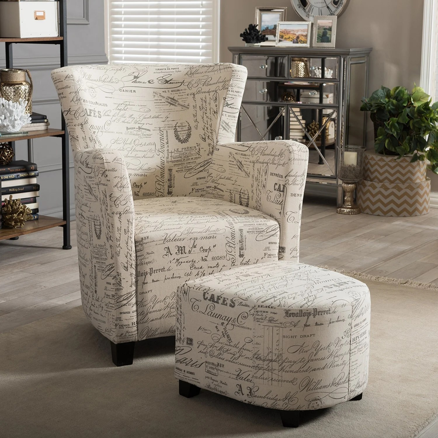 Script Chair Baxton Studio Benson French Script Patterned Fabric Club Chair And Ottoman Set