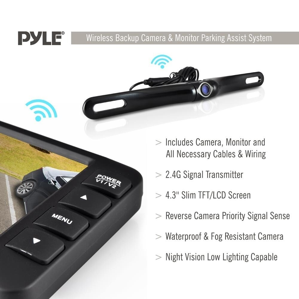 medium resolution of shop pyle plcm4375wir rear view back up camera and parking reverse assist system with 4 3 inch display free shipping today overstock 10884793