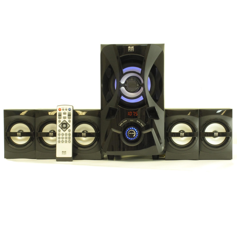 hight resolution of shop blue octave b53 home theater 5 1 bluetooth speaker system 800w with powered sub and fm tuner free shipping today overstock com 10899611
