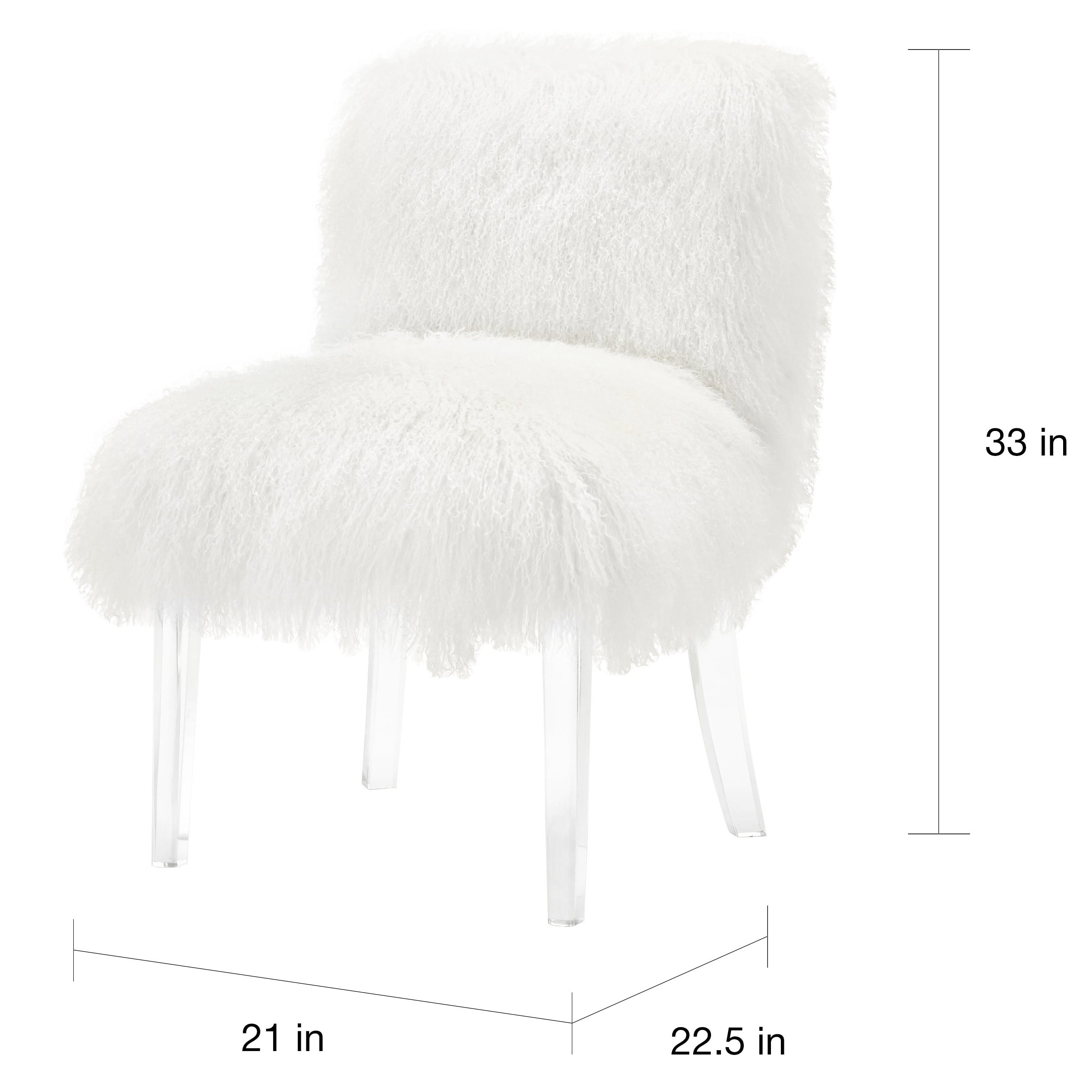 Lucite Chair Sophie White Sheepskin Lucite Chair