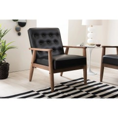 Wooden Lounge Chair Rv Furniture Dining Chairs Shop Baxton Studio Sorrento Mid Century Retro Modern Black Faux Leather Upholstered