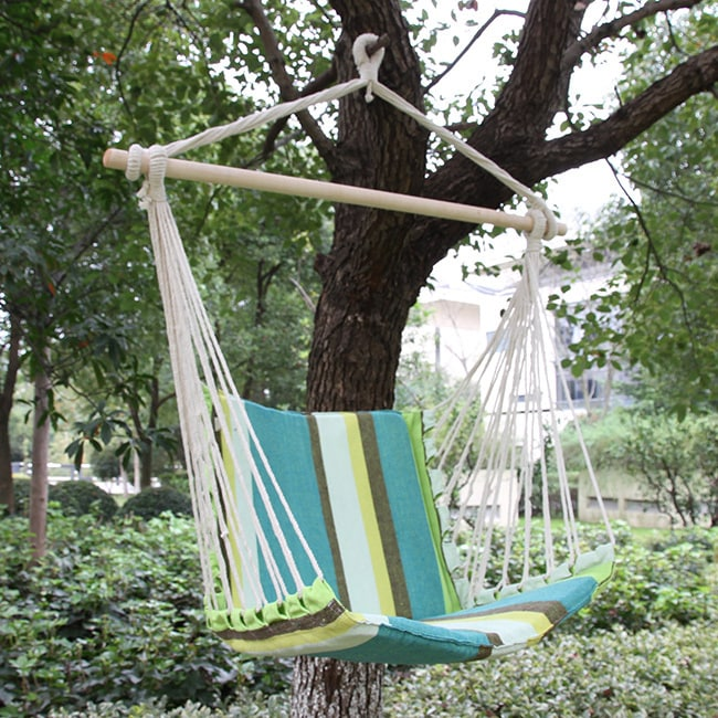 hanging chair tree beach cover shop adeco cotton fabric canvas hammock suspended outdoor indoor free shipping on orders over 45 overstock com 10953535
