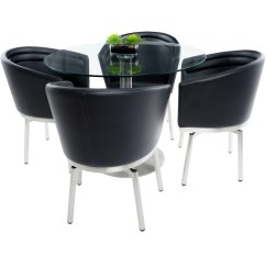 Table With Swivel Chairs Ektorp Chair Cover Shop Mix Brushed Stainless Steel Round Glass Dining And Memory 5 Piece Set
