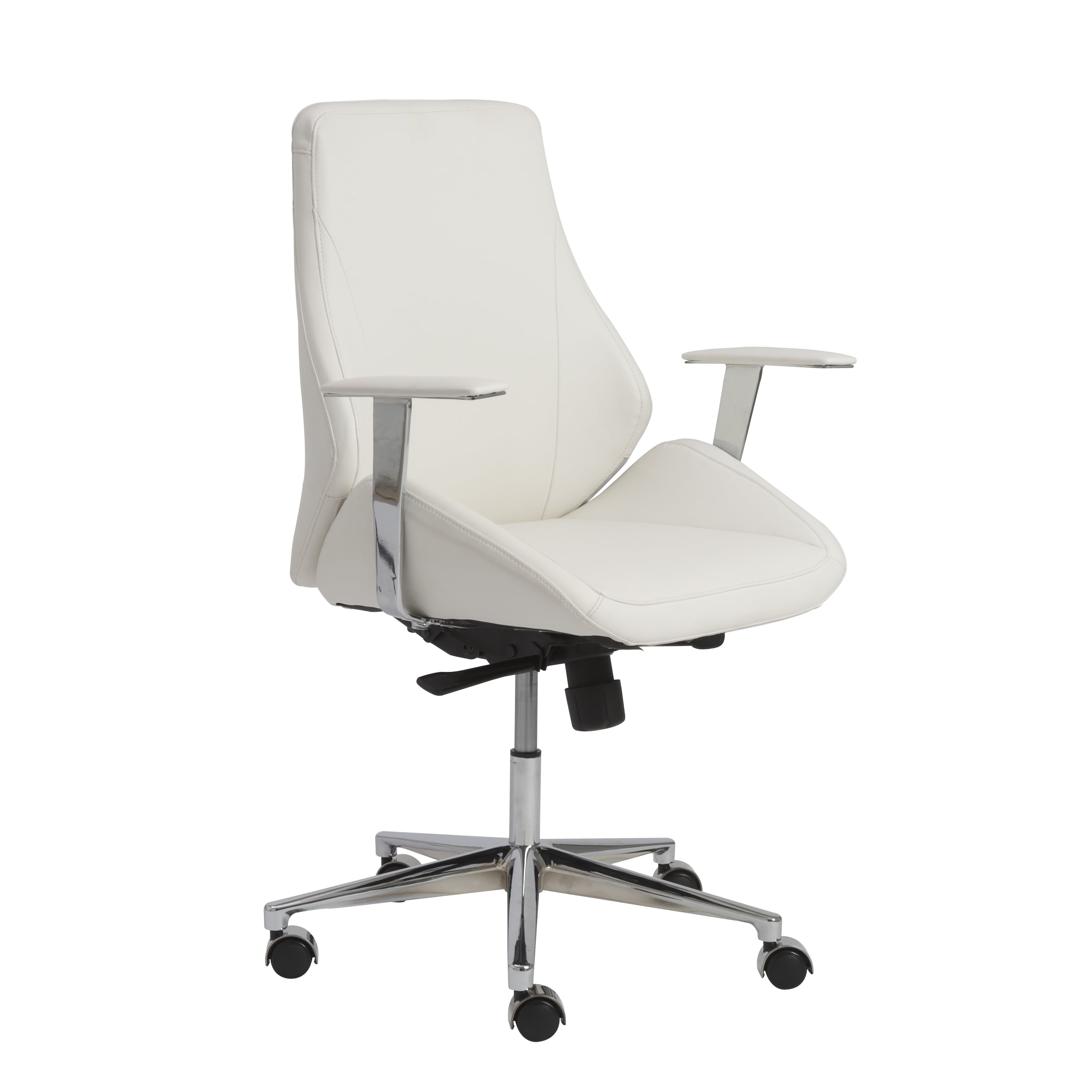 Low Back Office Chair Bergen White Aluminum Low Back Office Chair