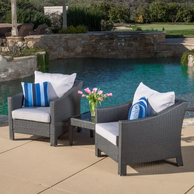 shop antibes outdoor 3-piece wicker conversation set with cushions