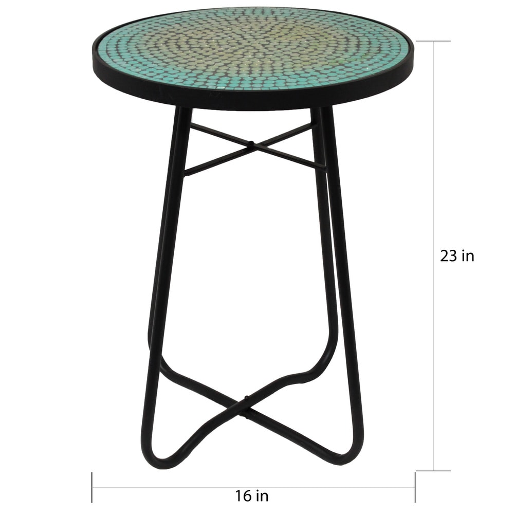 mosaic round patio side accent table