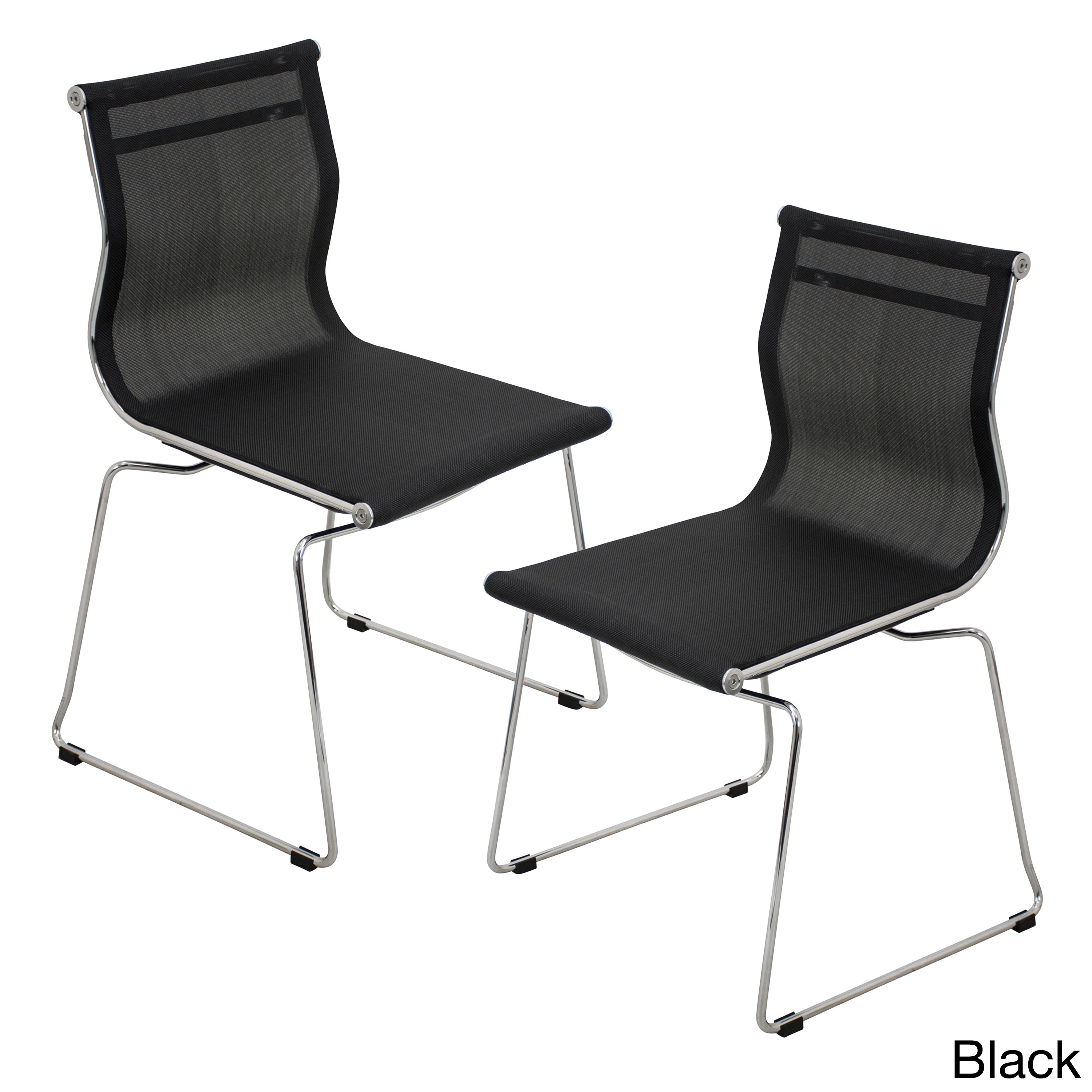 White Stackable Chairs Mirage Contemporary Stackable Chair Set Of 2