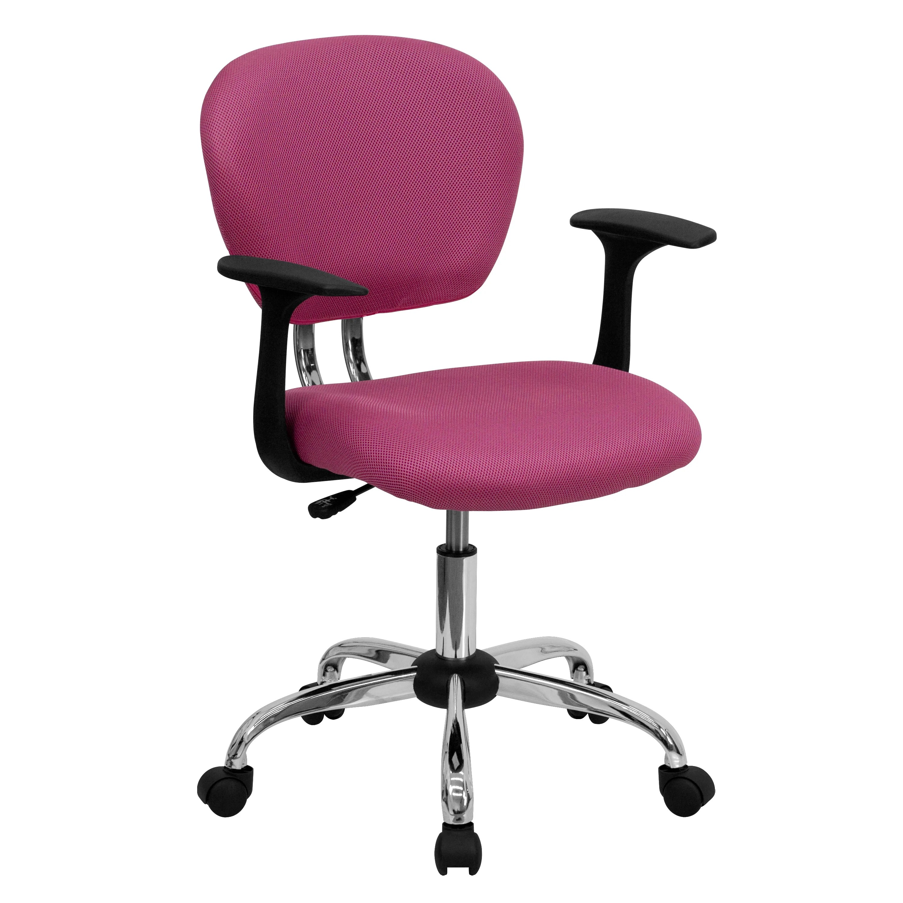 Pink Office Chairs Rigmos Pink Mesh Adjustable Swivel Office Chair With Arms And Chrome Base