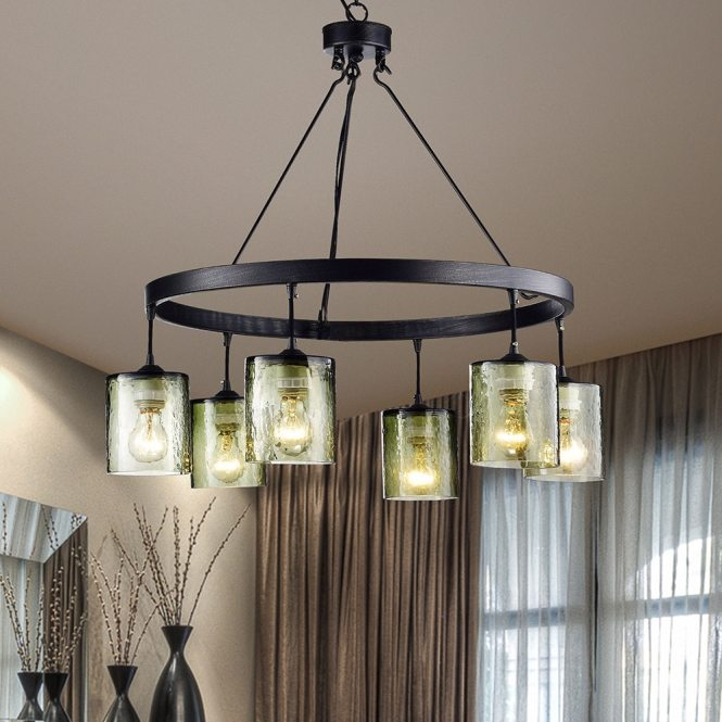 Mariana Antique Black Finish 6 Light Glass Chandelier Free Shipping Today 18410370
