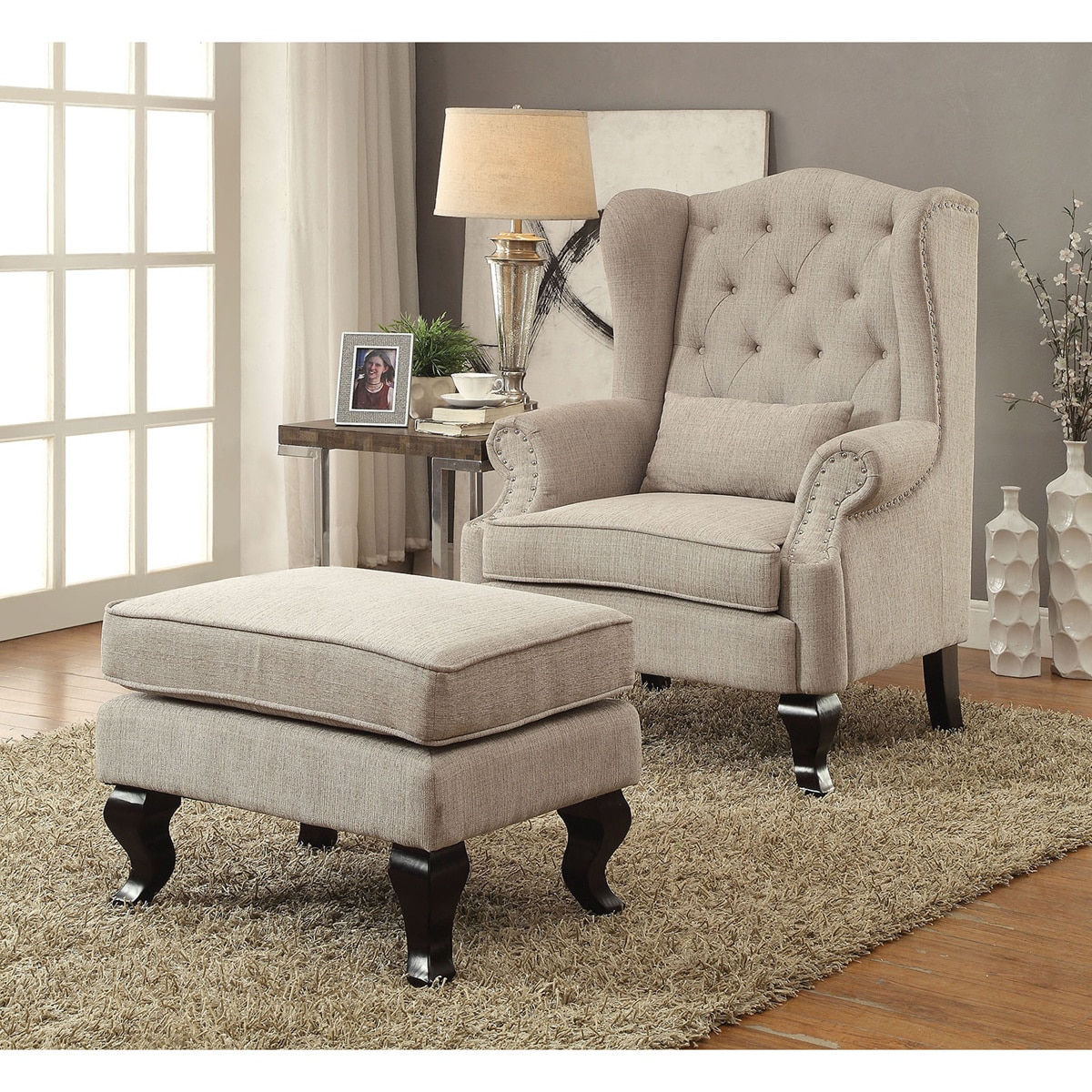 traditional wingback chair 500 lb office shop furniture of america irving 2 piece tufted armchair and ottoman set