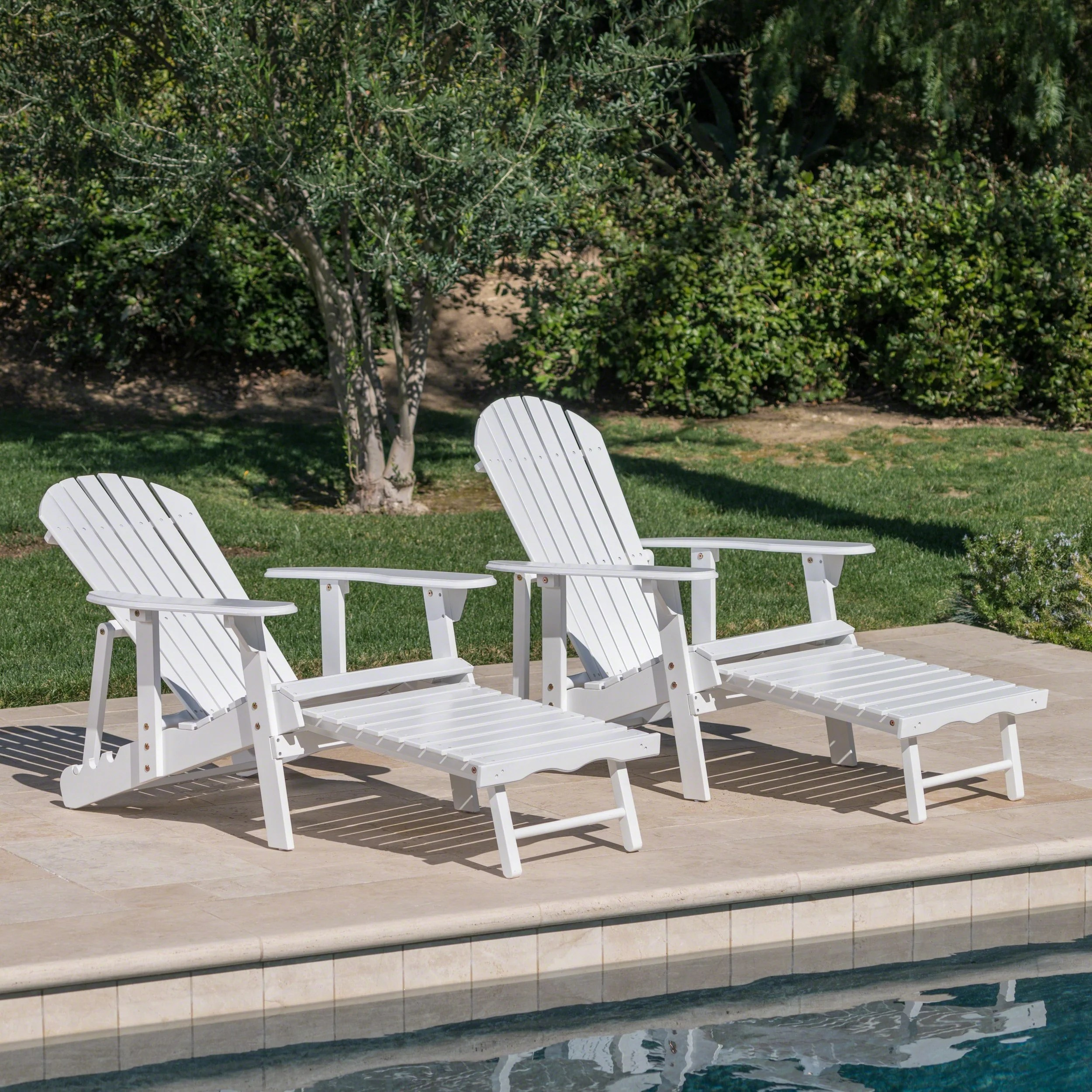 Adirondack Chair Set Hayle Outdoor Reclining Wood Adirondack Chair With Footrest Set Of 2 By Christopher Knight Home