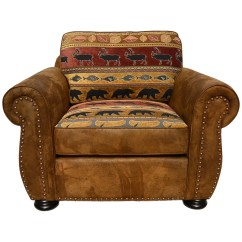 Brown Accent Chairs Allen And Roth Chair Cushions Shop Porter Hunter Lodge Style With Deer Bear Fish Woven Fabric On Sale Free Shipping Today Overstock Com 11600106