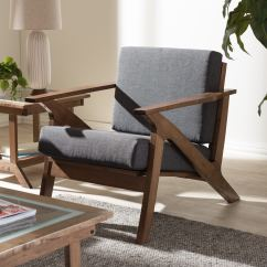 Lounge Chair For Living Room Glider Ottoman Shop Baxton Studio Cymone Mid Century Modern Walnut Wood Grey Fabric