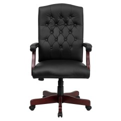 Wood And Leather Executive Office Chairs Trex Rocking Chair Cushions Shop Button Tufted Design Black Swivel Adjustable With Mahogany Capped Metal Base