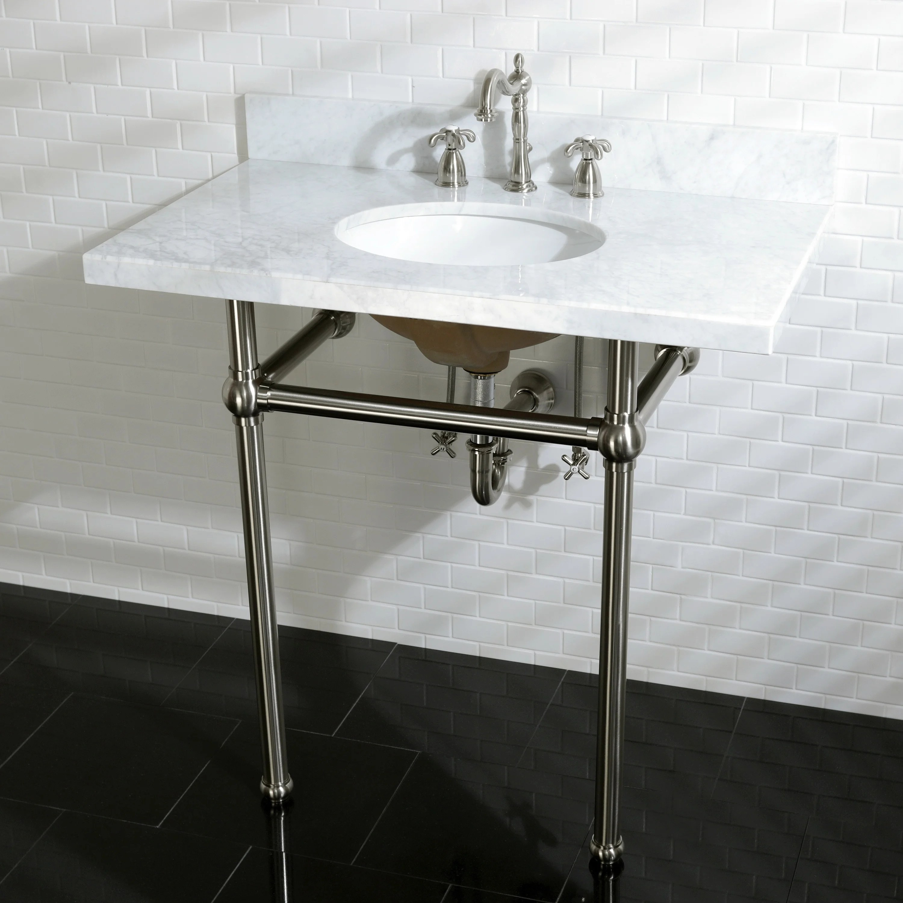 vintage carrara marble 36 inch console sink with metal stand