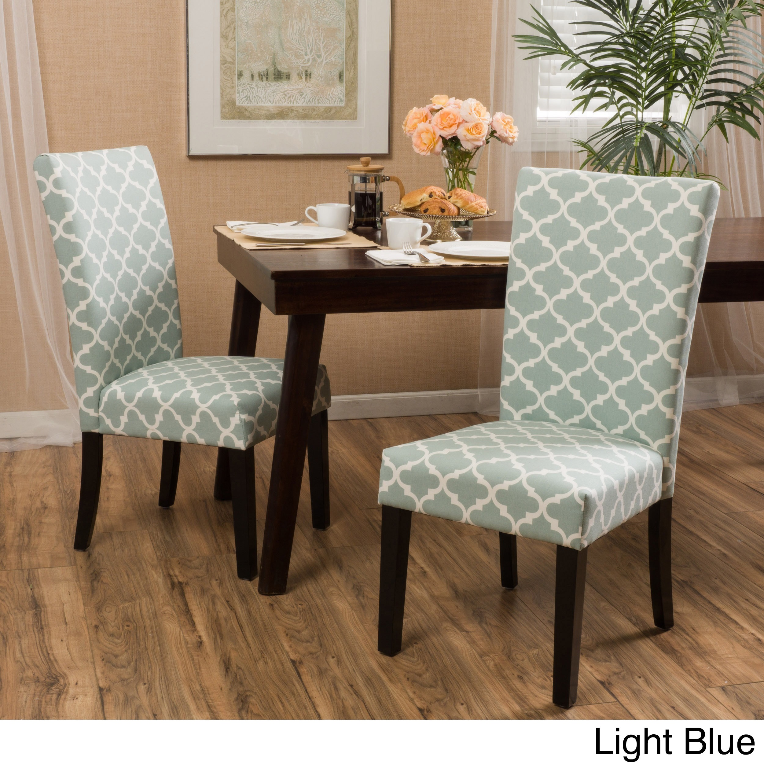 Dining Room Chair Sets Aurora Fabric Trellis Pattern Dining Chair Set Of 2