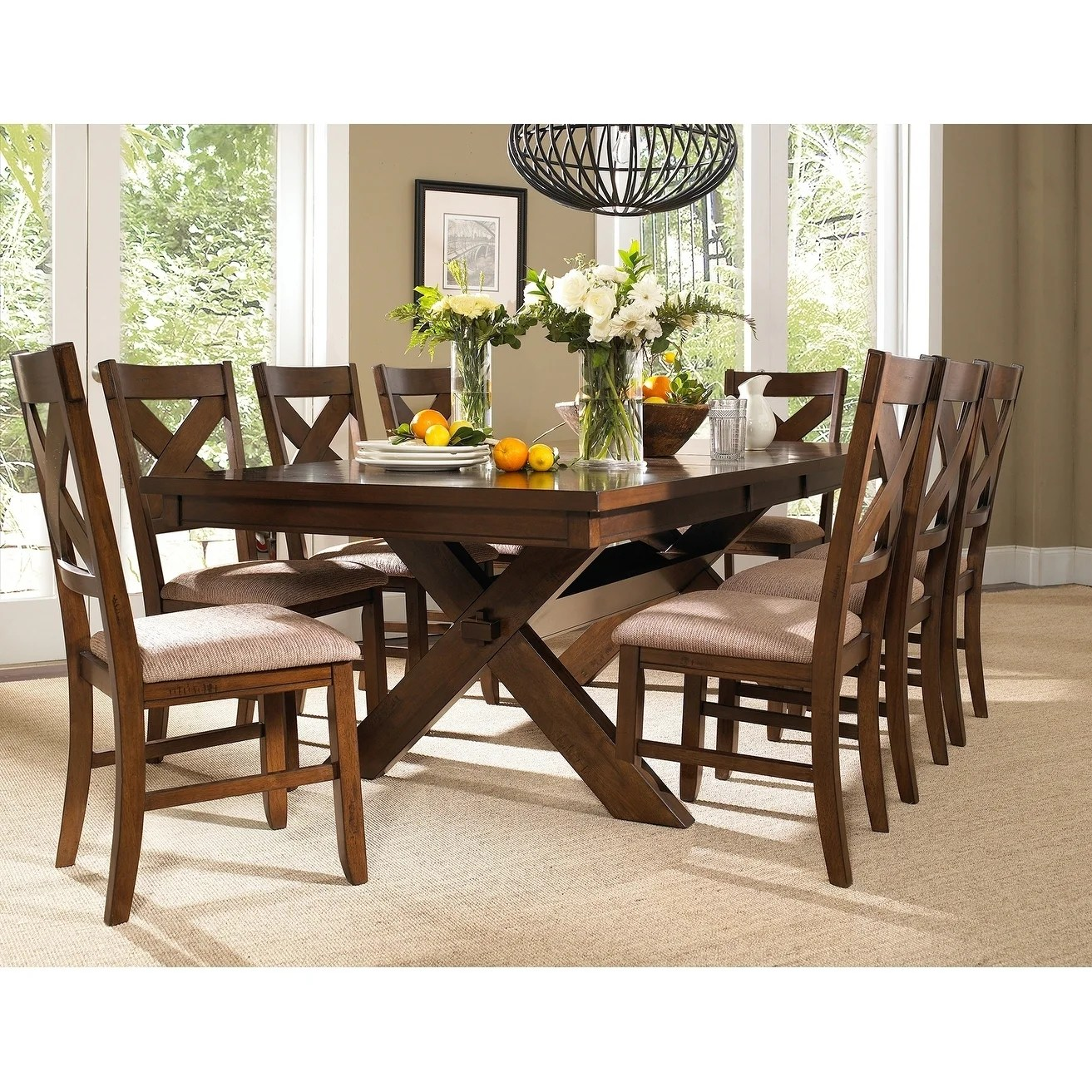 Kitchen Chairs Wood 9 Piece Solid Wood Dining Set With Table And 8 Chairs