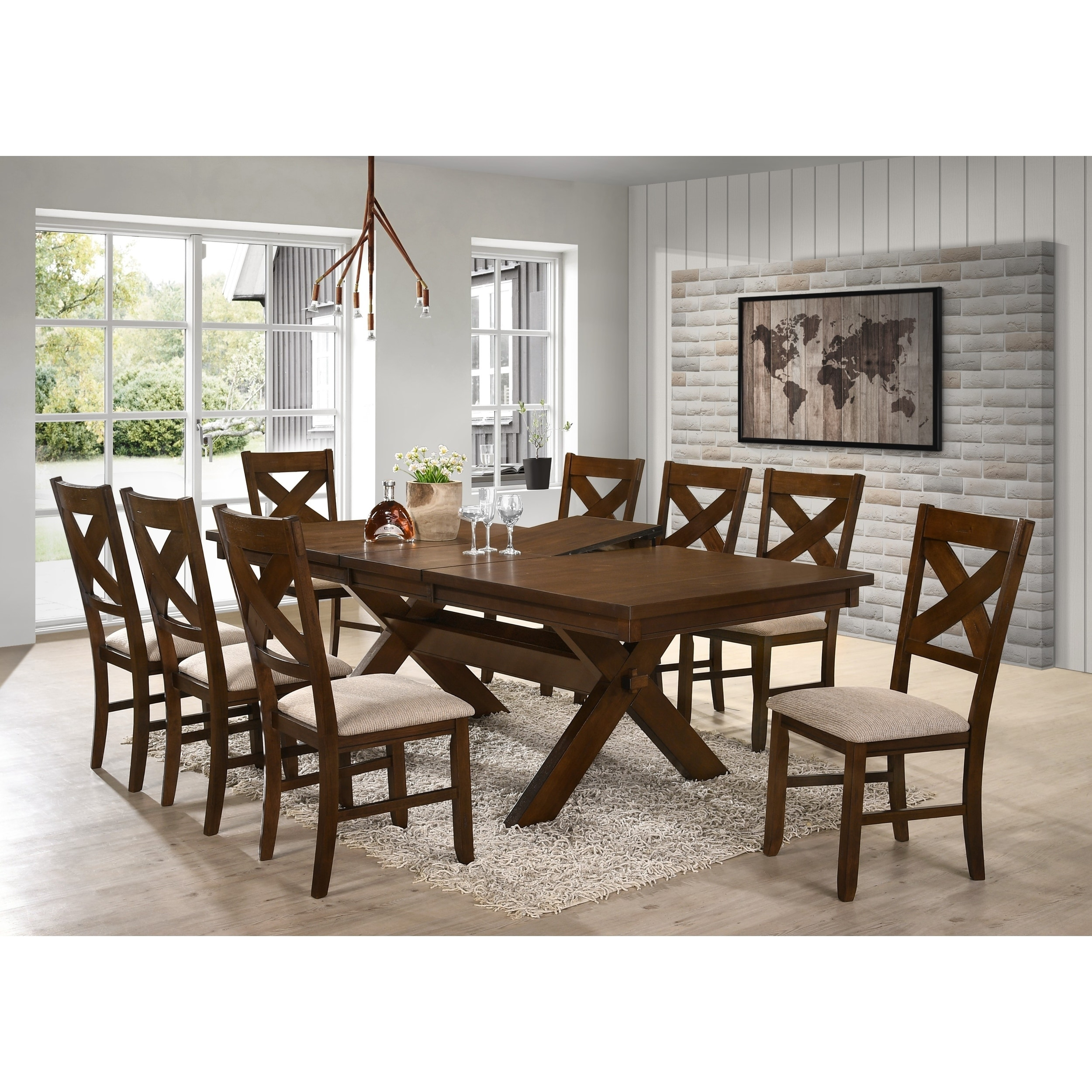 Dining Table 8 Chairs 9 Piece Solid Wood Dining Set With Table And 8 Chairs