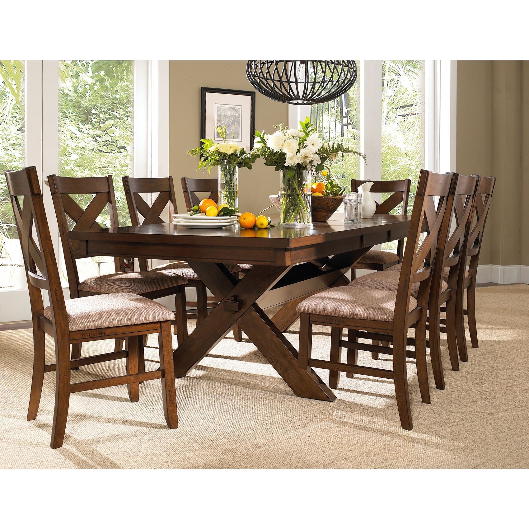solid oak dining table and chairs office chair yeovil shop 9 piece wood set with 8 free shipping today overstock com 11691458