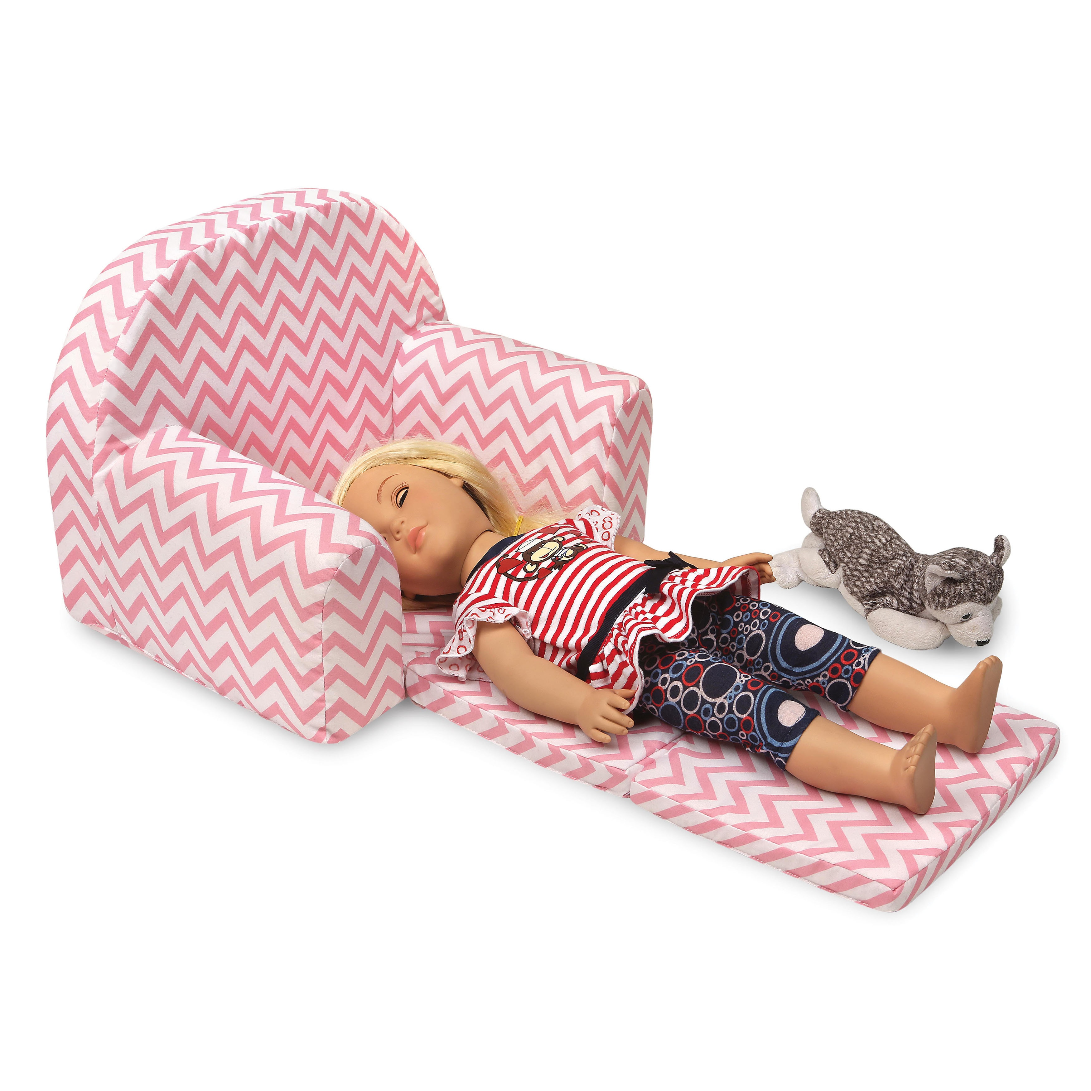 american doll chair office guest badger basket chevron upholstered with foldout bed fits girl dolls