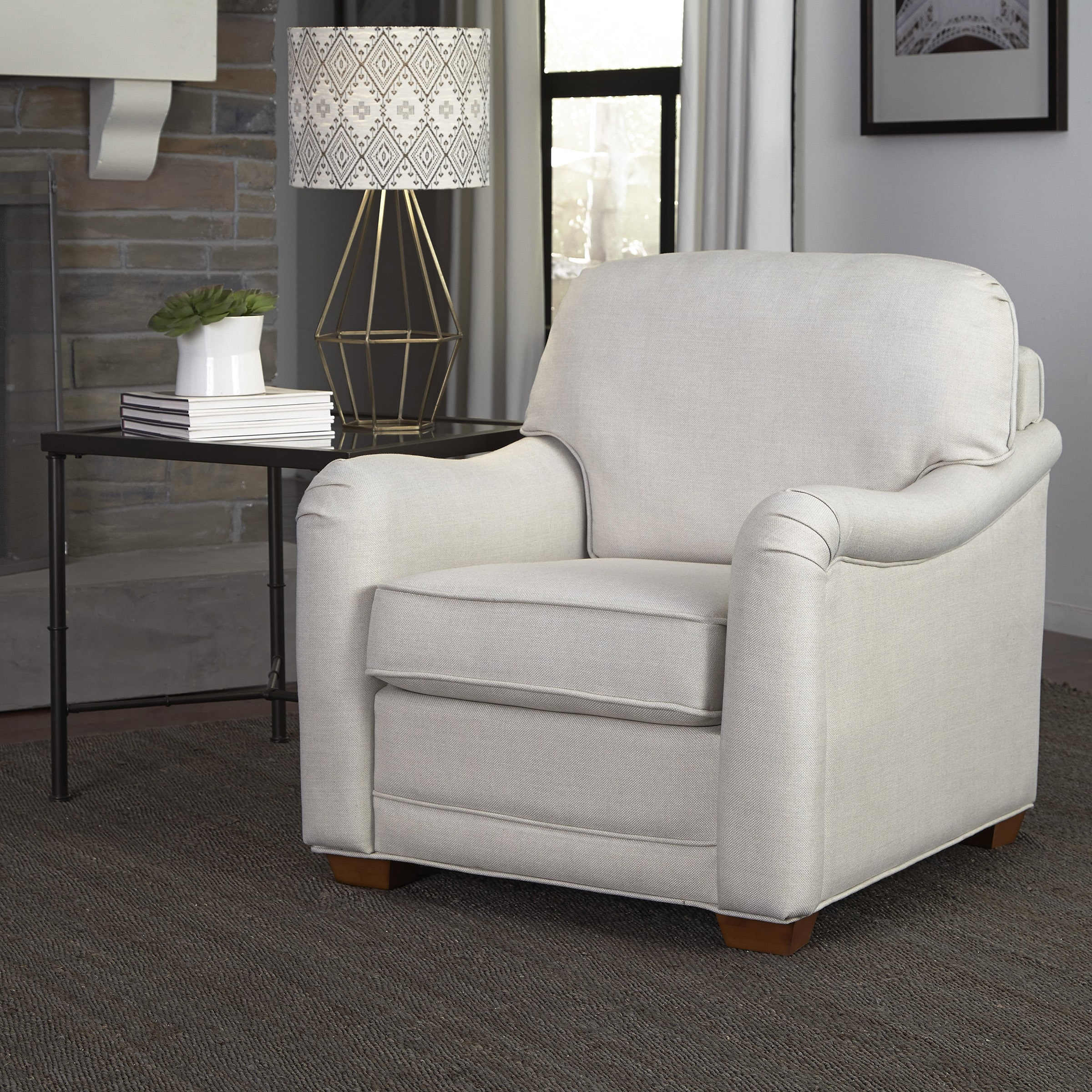 Stationary Chair Heather Ivory Upholstered Stationary Chair By Home Styles