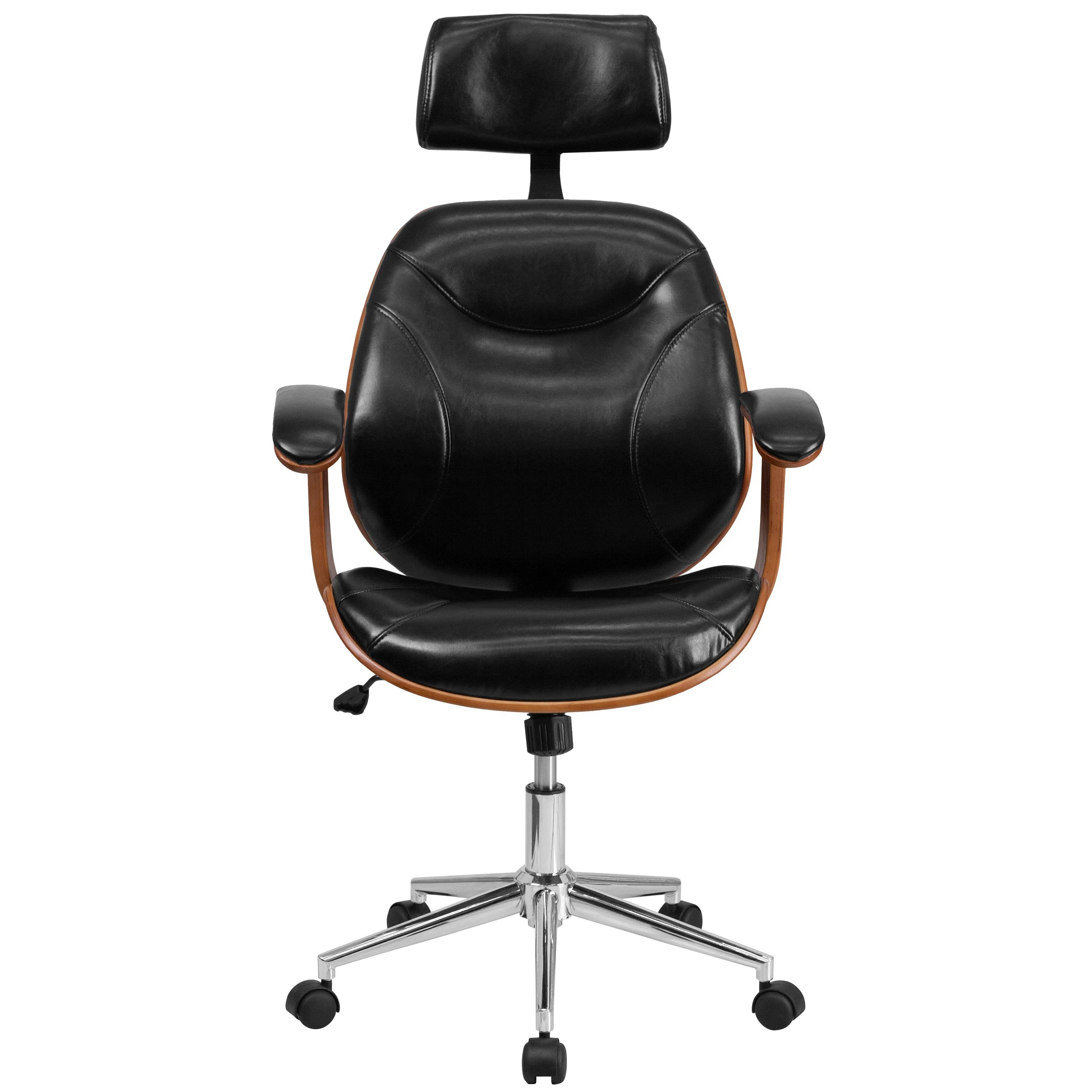 wood and leather executive office chairs salon for cheap shop arly black swivel adjustable chair with headrest free shipping today overstock com 11886762
