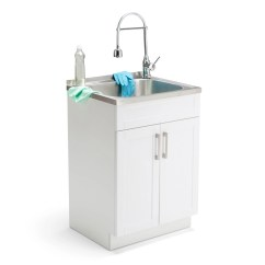 24 Inch Kitchen Sink Disposal Shop Wyndenhall Hartland Laundry Cabinet With Faucet And Stainless Steel