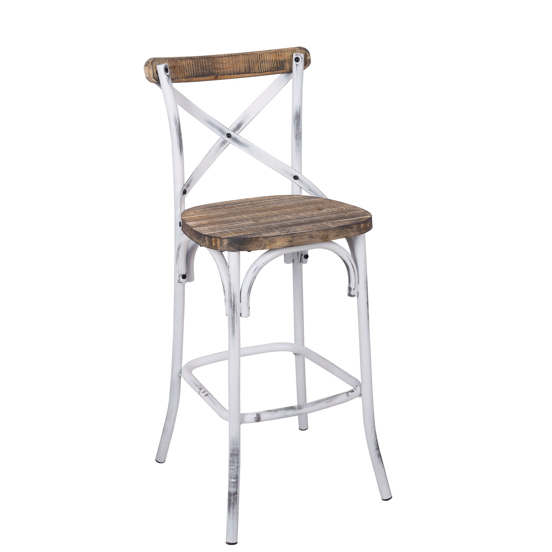 Wood Bar Chairs Zaire 96642 Walnut Colored Antique White Steel And Wood Bar Chair