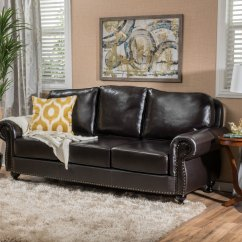 Brown Leather Studded Sofa Tan Ideas Shop Taro 3 Seat Top Grain By Christopher Knight Home