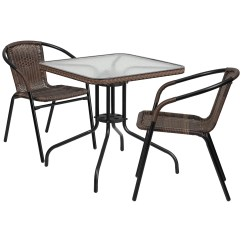 2 Chairs And Table Rattan Swivel Chair Problems Shop 28 Inch Square Glass Metal With Edging Stack
