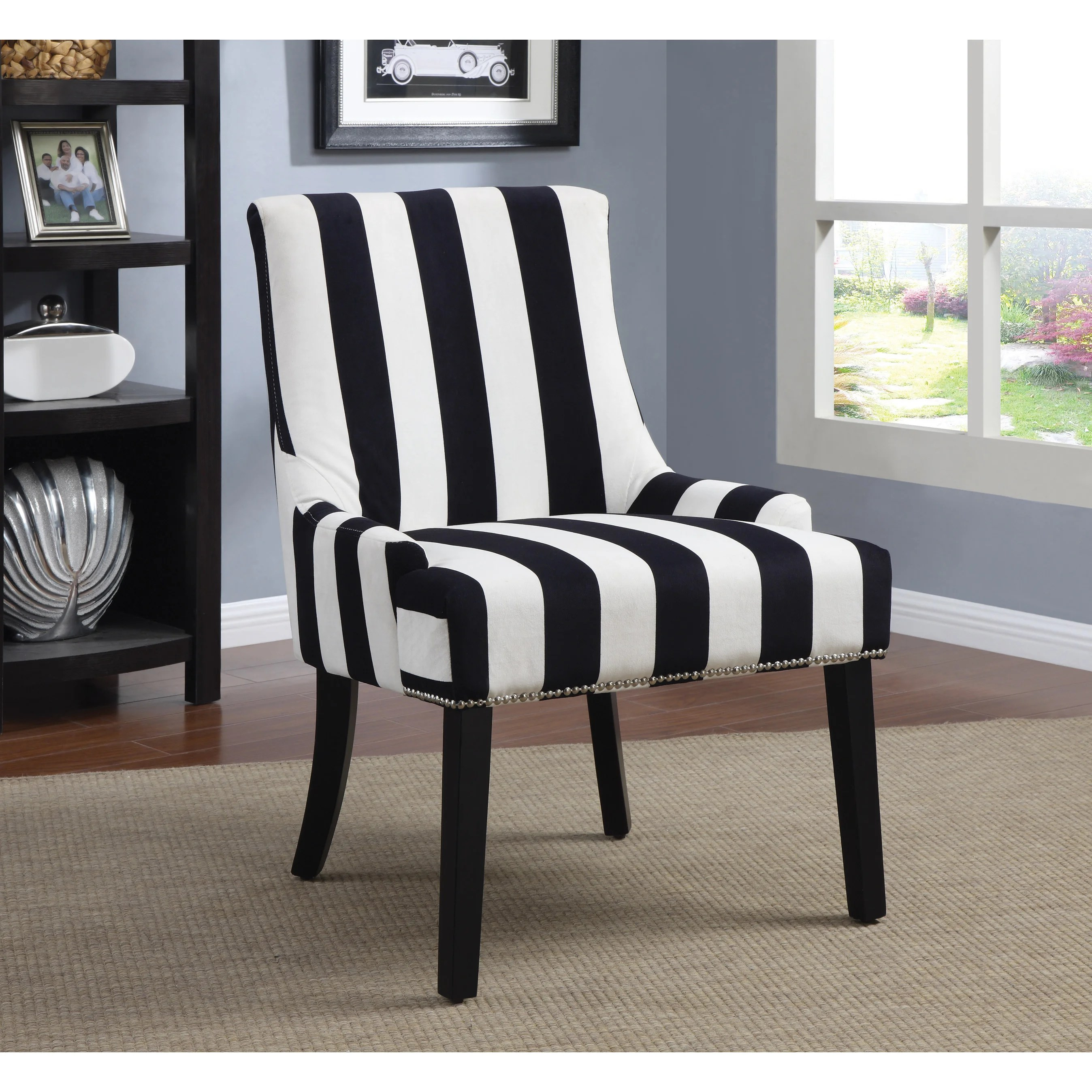 Blue And White Striped Chair Transitional Midnight Blue And White Accent Chair