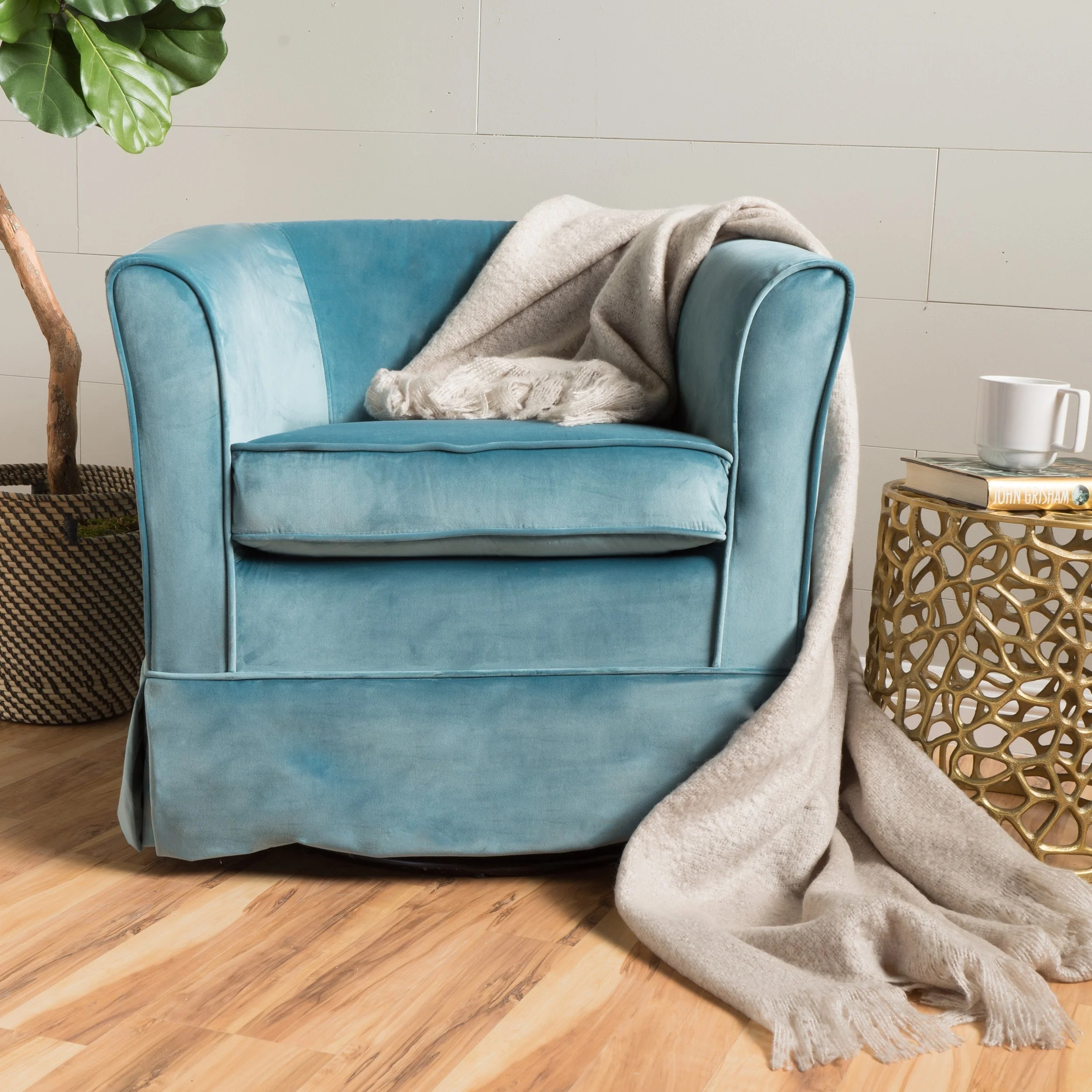 teal club chair leather and wood with ottoman shop cecilia velvet swivel by christopher knight home