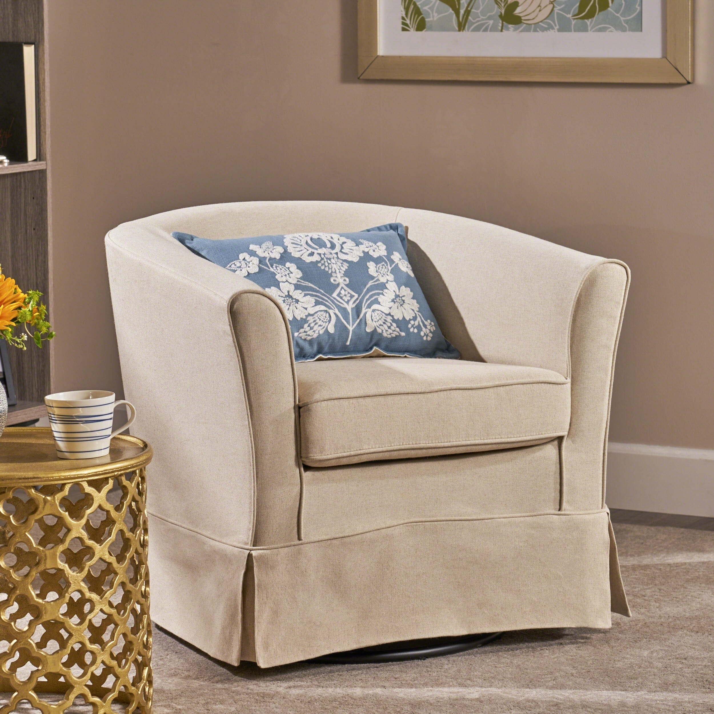Swivel Living Room Chairs Cecilia Fabric Swivel Club Chair By Christopher Knight Home