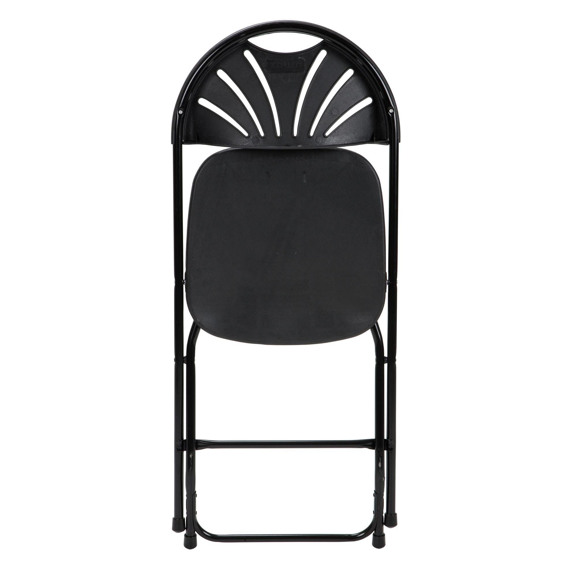Cosco Folding Chair Cosco Commercial 8 Pack Heavy Duty Injection Mold Fan Back Black Folding Chair With Comfortable Contoured Back