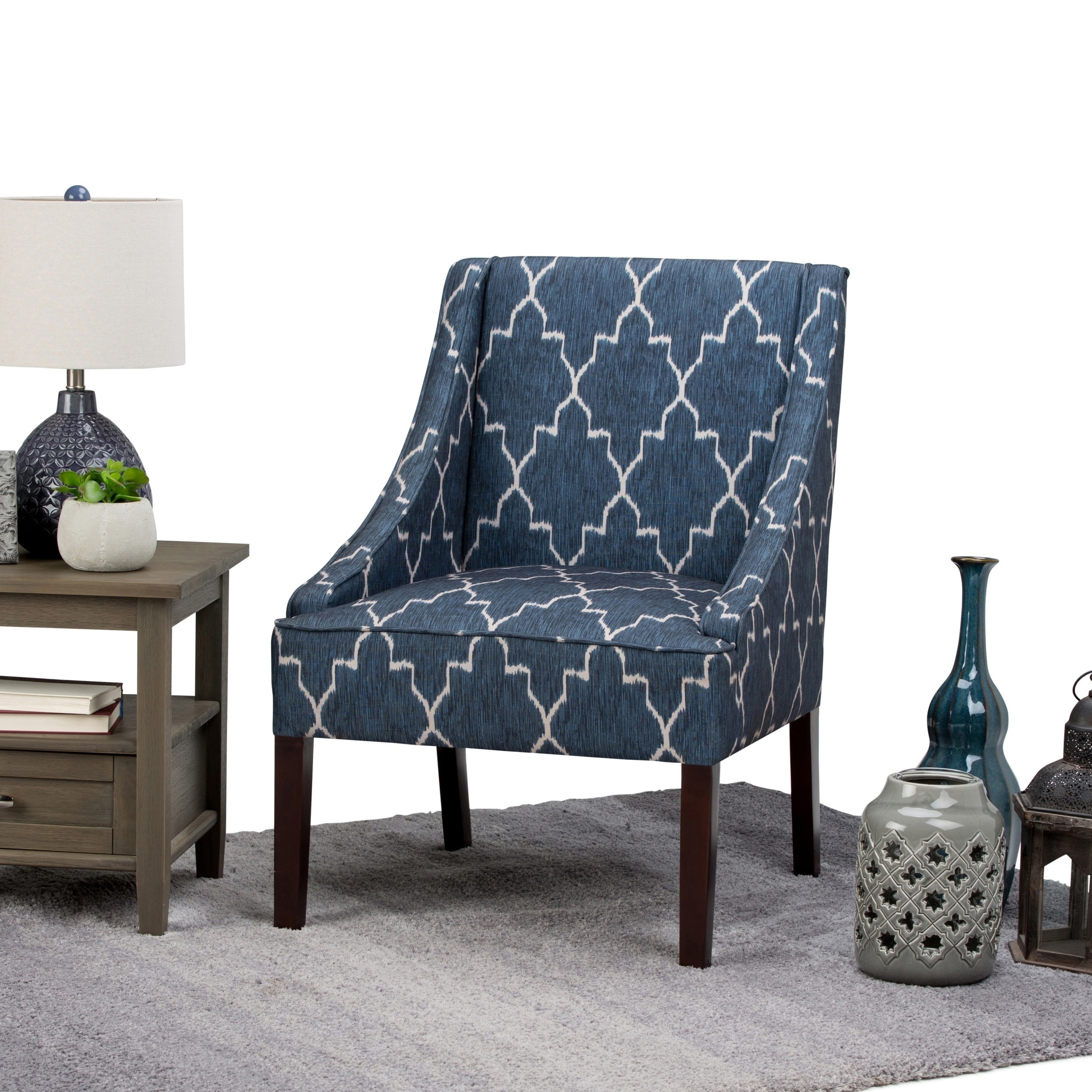 blue pattern accent chair teal banquet covers shop wyndenhall lilith cobalt moroccan