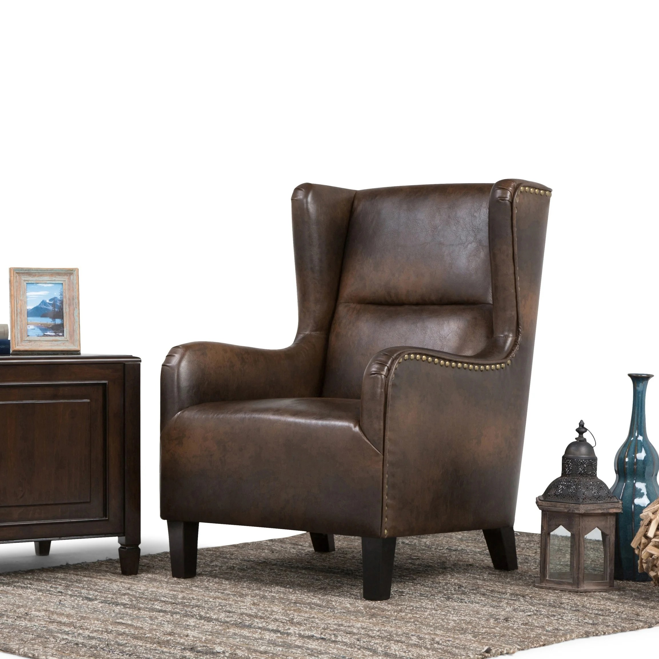 Brown Leather Wingback Chair Wyndenhall Manford Wingback Chair