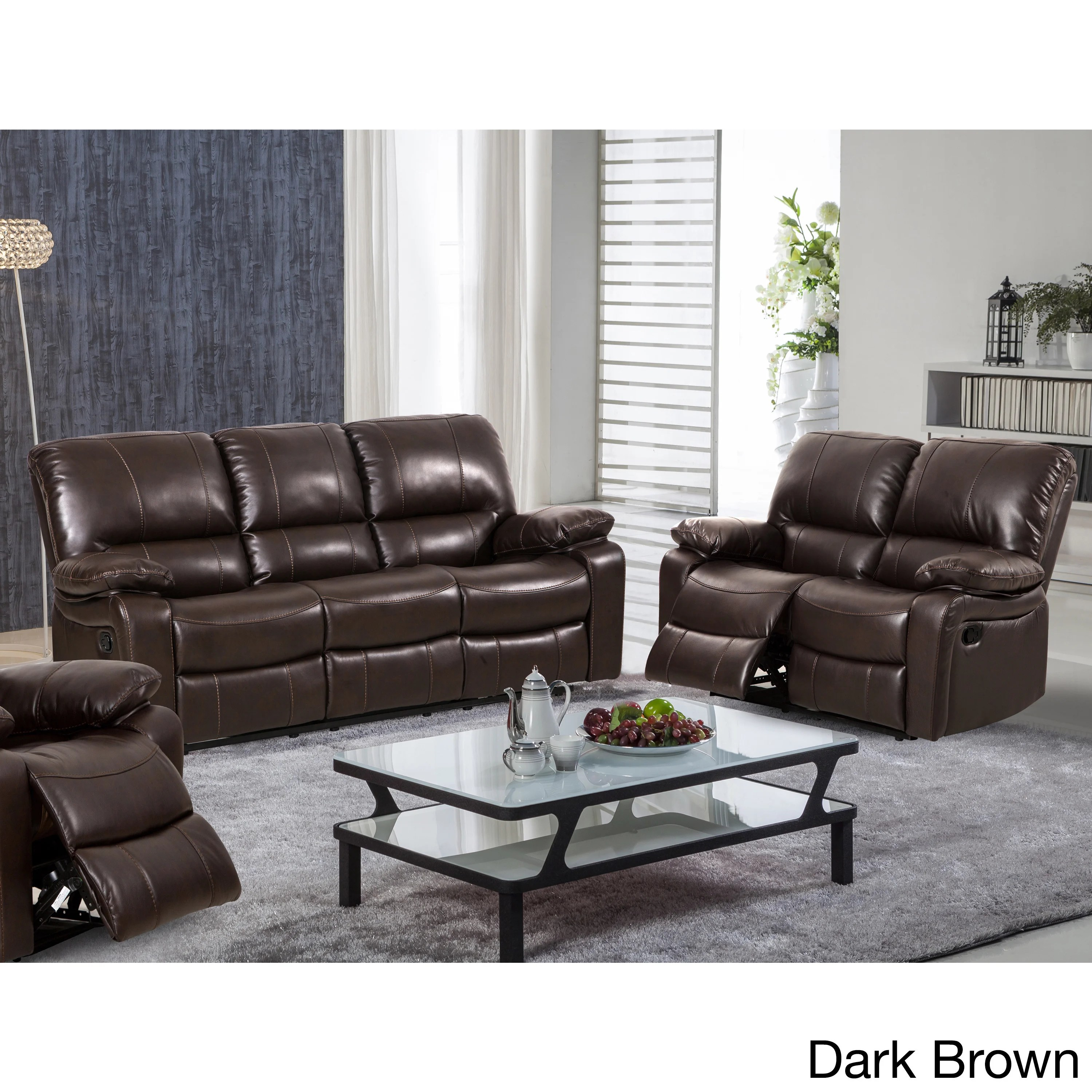 ryker reclining sofa and loveseat 2 piece set sectional sofas discount prices shop samantha leather gel living room
