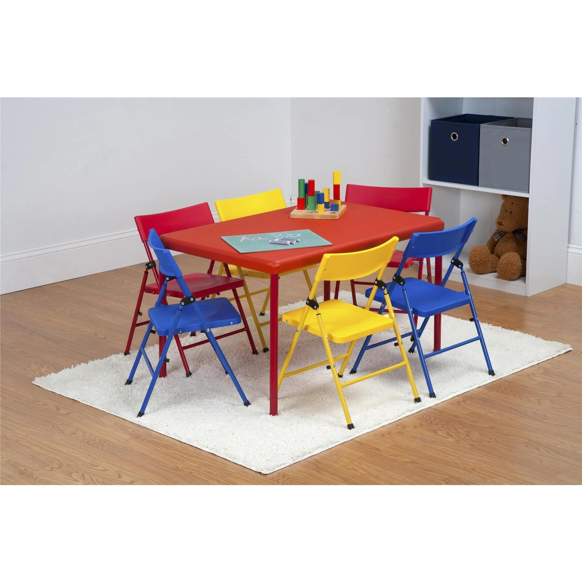 Childrens Folding Table And Chairs Safety First 7 Piece Children S Juvenile Set With Pinch Free Folding Chairs And Screw In Leg Table