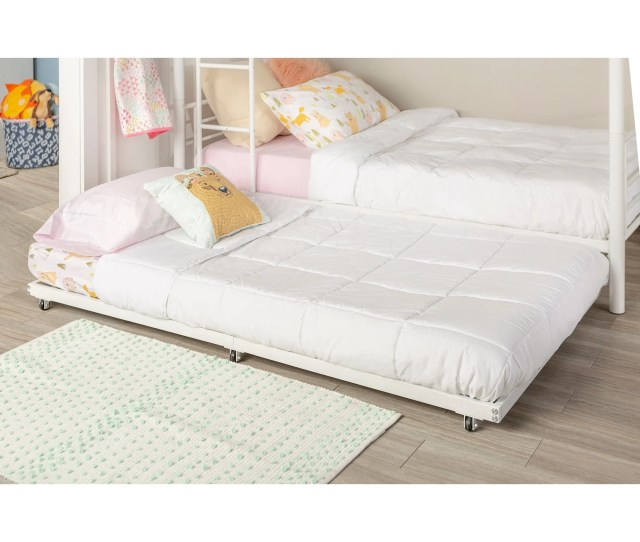 Metal Roll Out Twin Trundle Bed Frame White