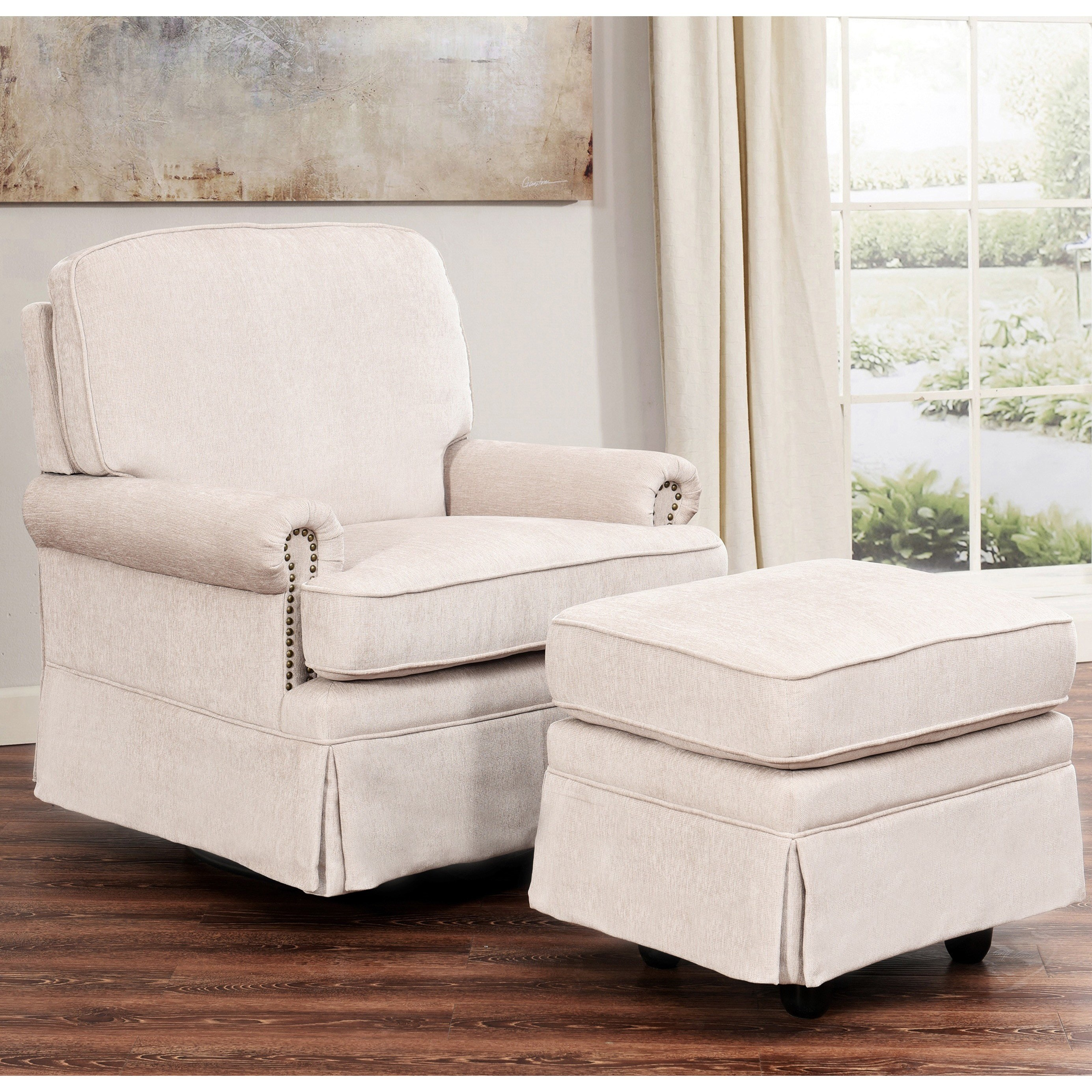 living room swivel glider chairs floor plan design shop abbyson chloe cream hardwood steel fabric chair and ottoman