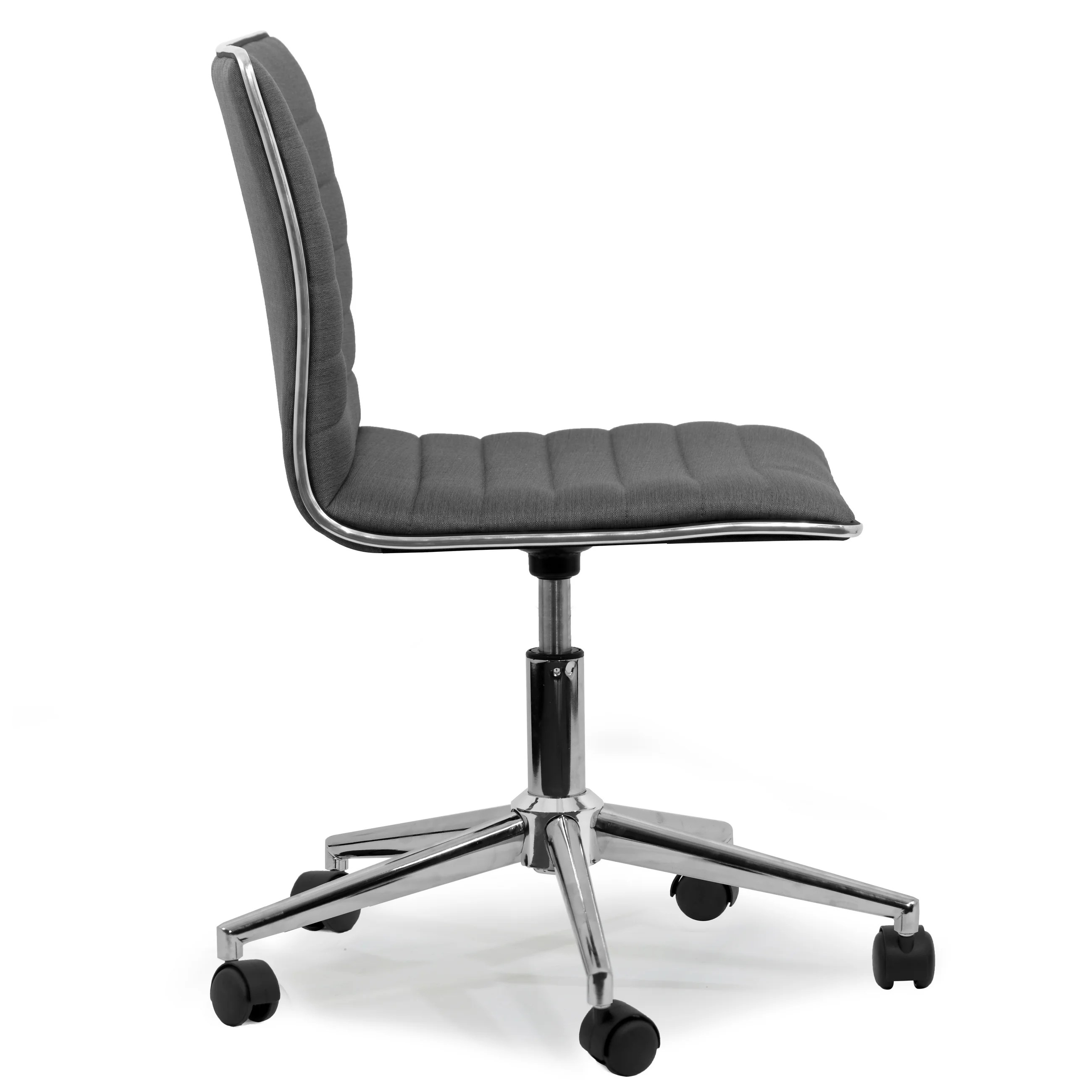 swivel office chair with wheels tufted upholstered dining chairs shop aiko grey fabric chrome metal on sale free shipping today overstock com 12816273