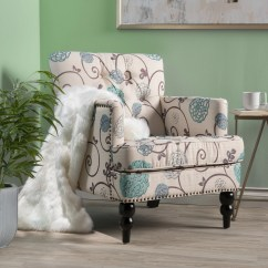 Teal Club Chair Youtoo Ergonomic Shop Harrison Floral Fabric Tufted By Christopher Knight Home