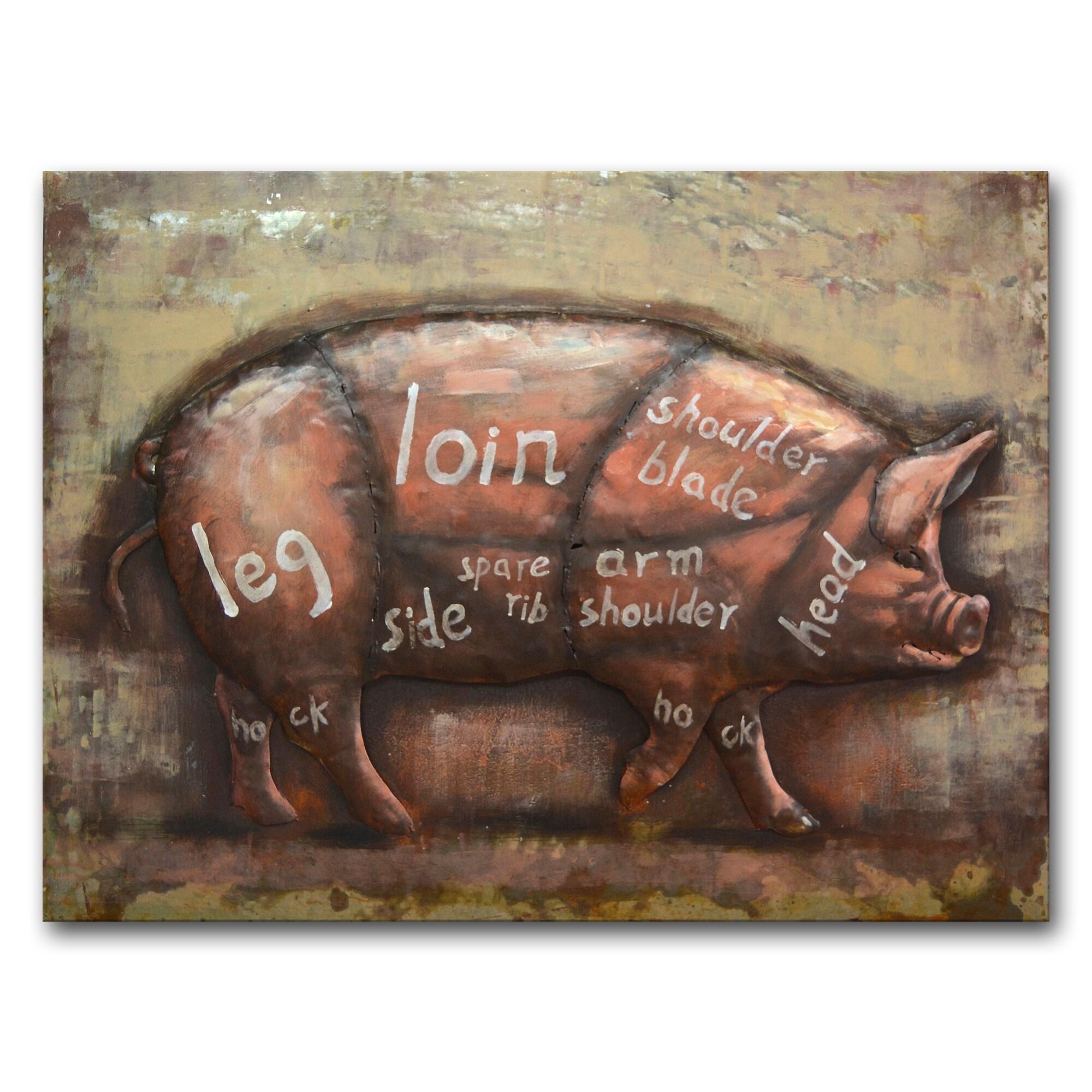 hight resolution of benjamin parker pig diagram multicolored metal 30 inch x 39 inch raised wall art