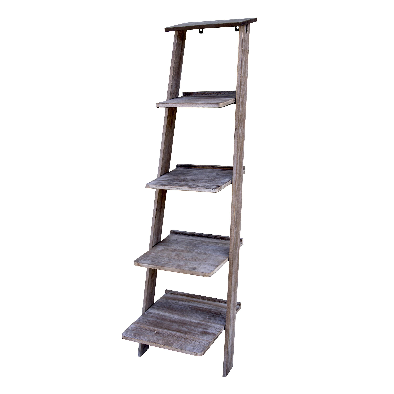 Wood Metal Ladder Shelf