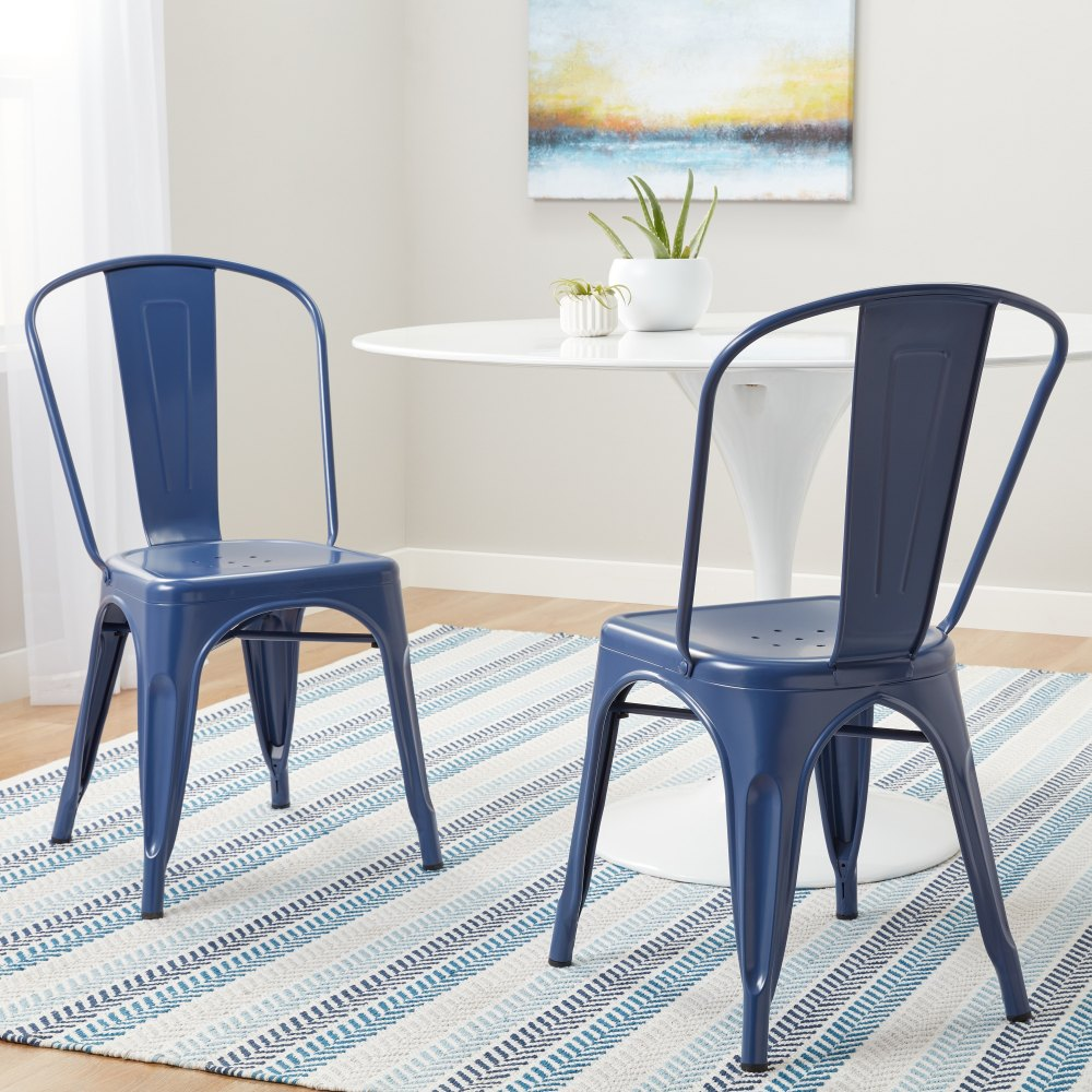 medium resolution of tabouret navy bistro dining chairs set of 2
