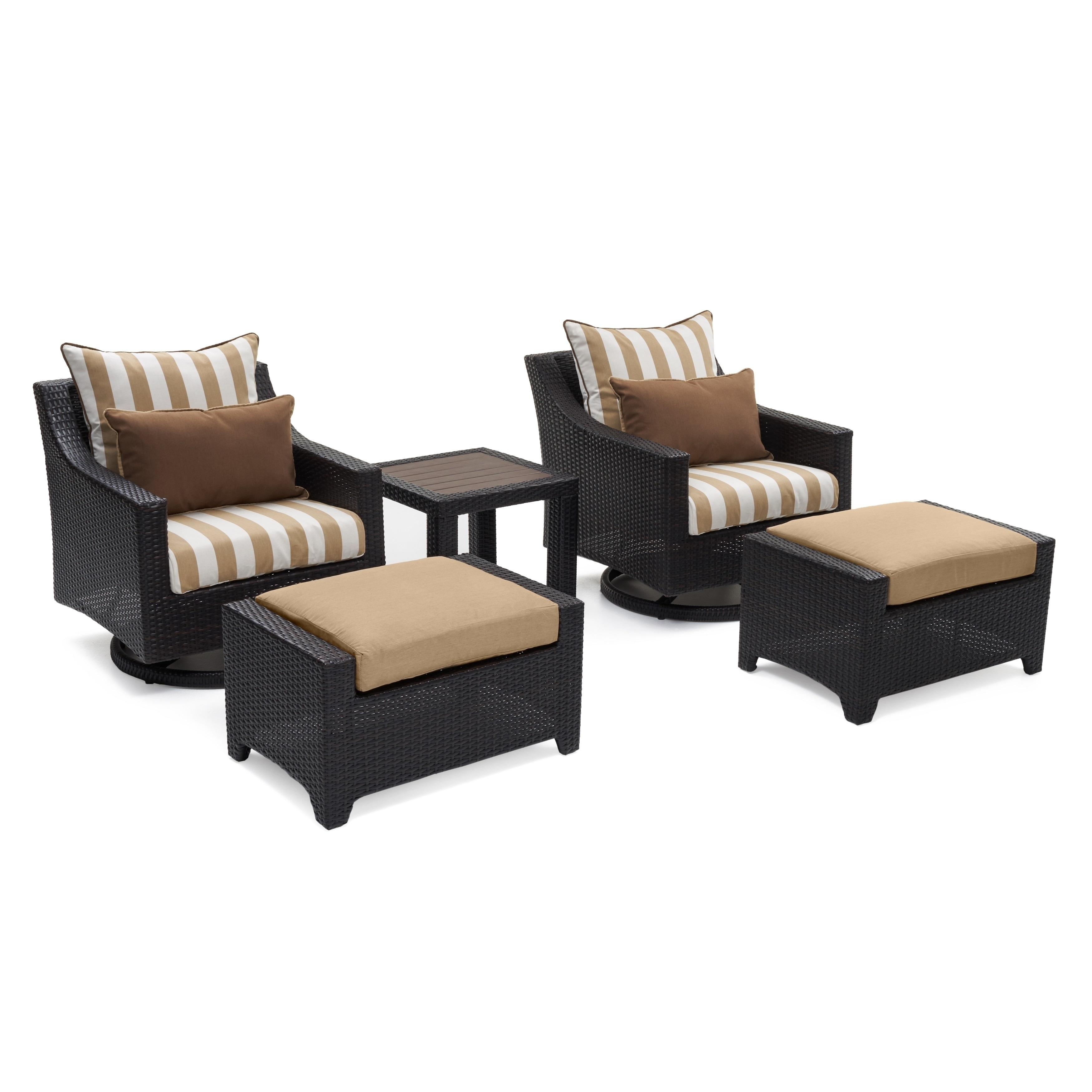 resin wicker chair with ottoman table and rentals nyc shop rst brands deco maxim beige sunbrella 5 piece deluxe motion club set