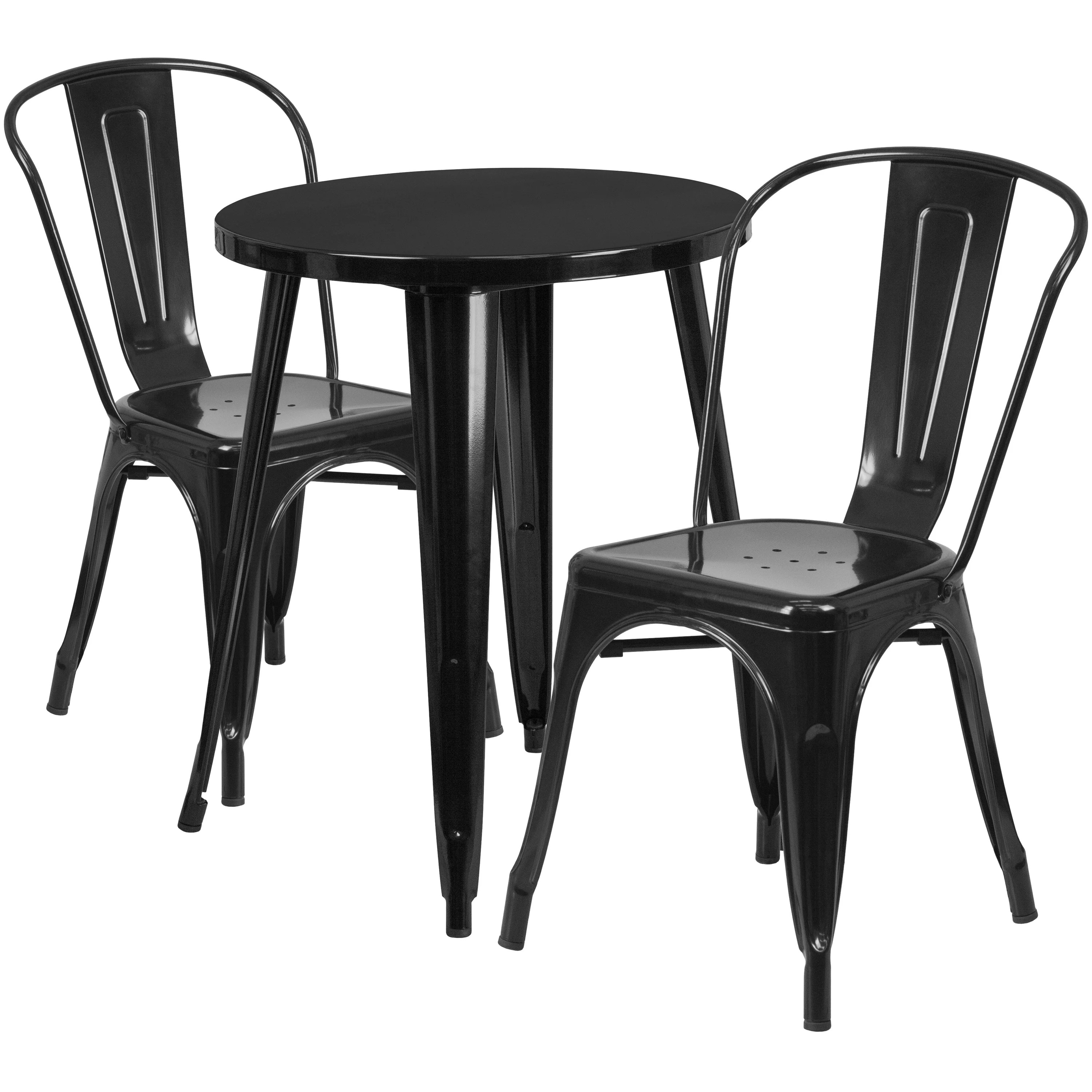cafe chairs metal cheap office for sale shop 24 round indoor outdoor table set with 2