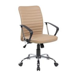 Ergonomic Computer Chair Burlap Cushions Shop Black Beige Pu Pvc Mid Back Modern