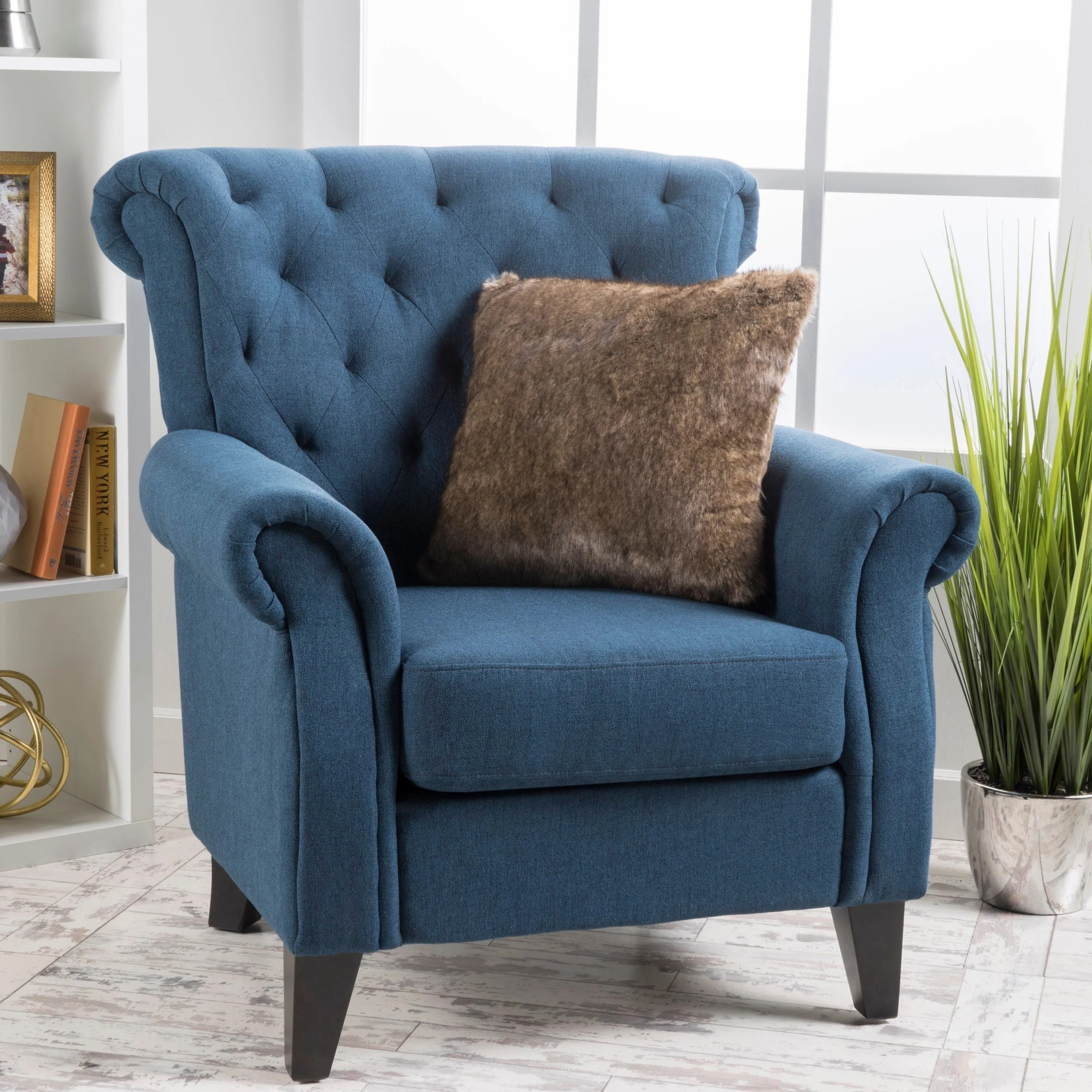 high back tufted chair fold up reclining lawn chairs shop merritt fabric club by christopher knight home